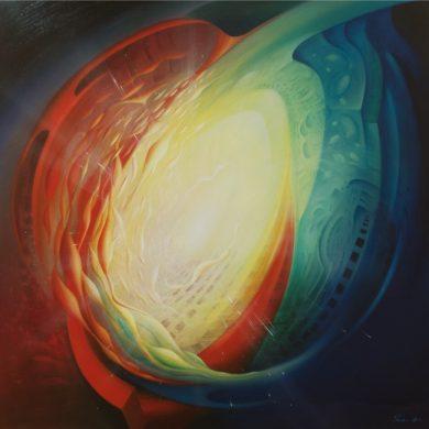 0040 SPHERE organic (organic~inorganic) - oil on canvas - 107x107cm by Drazen Pavlovic 2014