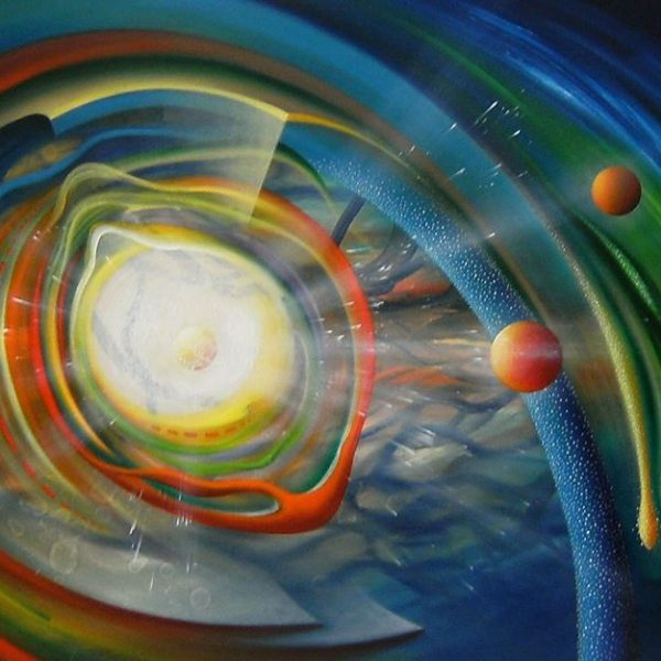 SPHERE BT (binding~transduction) oil on canvas 100x150cm, 2016 by Drazen Pavlovic, Original oil painting with Certificate, No.52678. For Sale.
