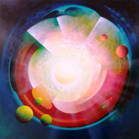 SPHERE ED (energy~dynamics). Oil on canvas - 80x80cm, by Drazen Pavlovic, MMXIX. Certificate No. 52773 - Sold.