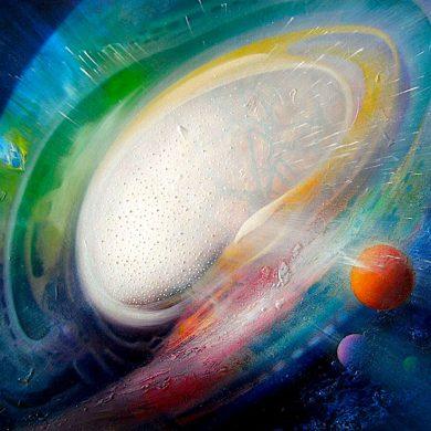 SPHERE ET (experiment ~ theory ) oil on canvas 45 x 60 cm MMXVII author Drazen Pavlovic
