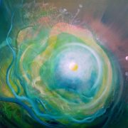 SPHERE GW ( gas ~ water ) * oil on wooden board * 39 x 54 cm * MMXVI * author * Drazen Pavlovic * Original oil painting with Certificate No.52683 * for sale