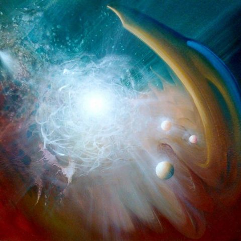 SPHERE MG ( mass ~ gravity ) * oil on wooden board * 40 x 50 cm * MMXVI * author * Drazen Pavlovic * Original oil painting with Certificate No.52684 * For Sale