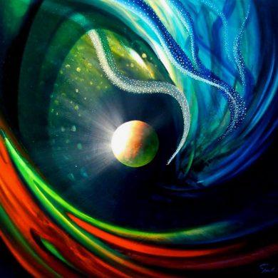 SPHERE PM ( physics ~ metaphysics ) * oil on canvas * 60 x 70 cm * MMXVII * author * Drazen Pavlovic