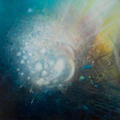 SPHERE genesis (host~virus) oil-on-canvas-50x50-cm 2013 by Drazen Pavlovic