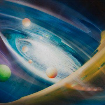 SPHERE~rheu2-(electron~positron)-oil-on-wooden-panel-52x79cm-by-Drazen-Pavlovic-MMXI